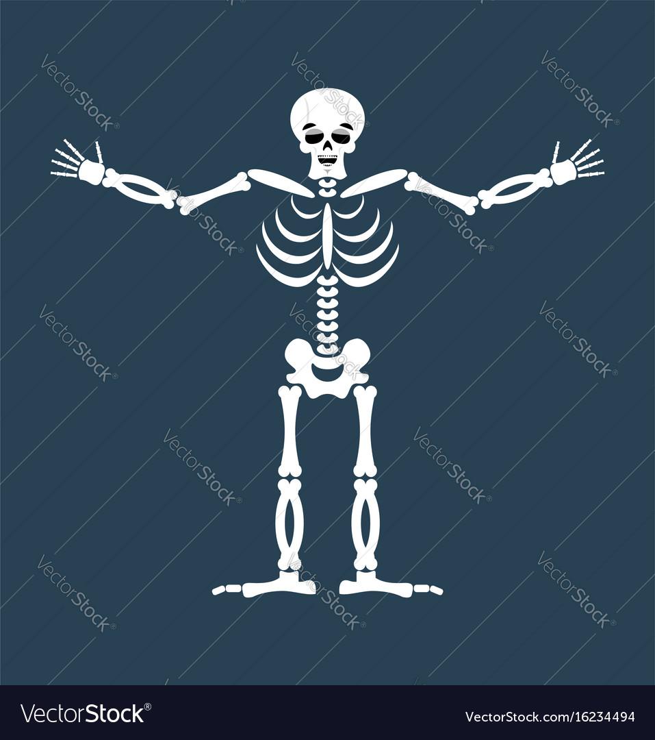 Skeleton happy emoji skull merry emotion isolated vector image