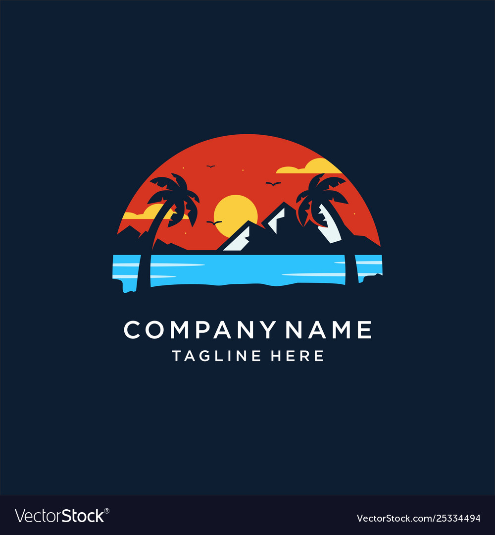 Sunset island logo design
