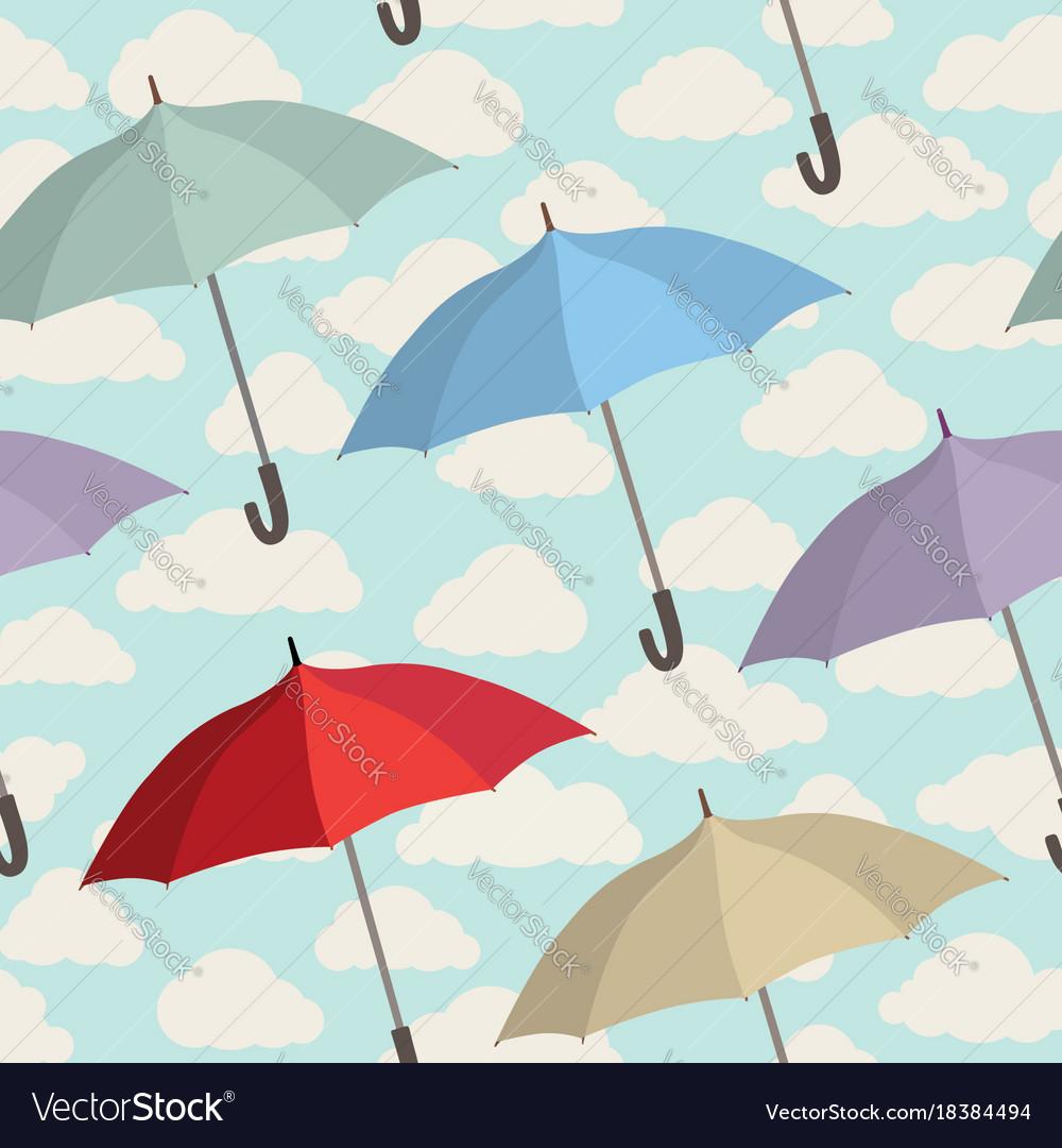 Umbrella seamless pattern cloudy sky season