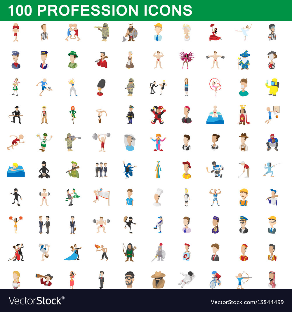 100 profession icons set cartoon style