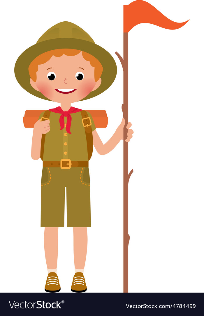 A smiling child boy scout