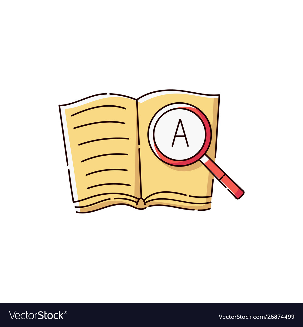 Book icon with magnifying glass showing a letter