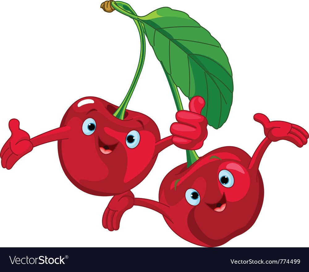 cartoon cherries character royalty free vector image rh vectorstock com cartoon cherry pictures cartoon cherry pics