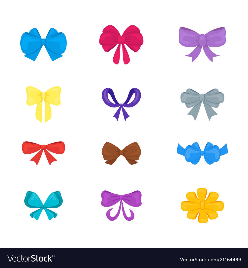 Cartoon gift bows icon set