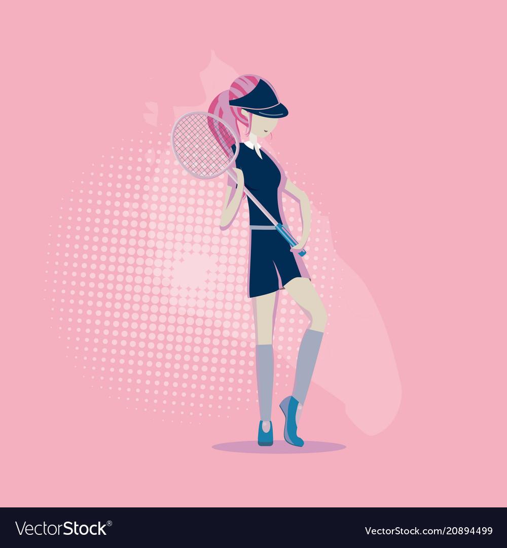 Girl playing in badminton