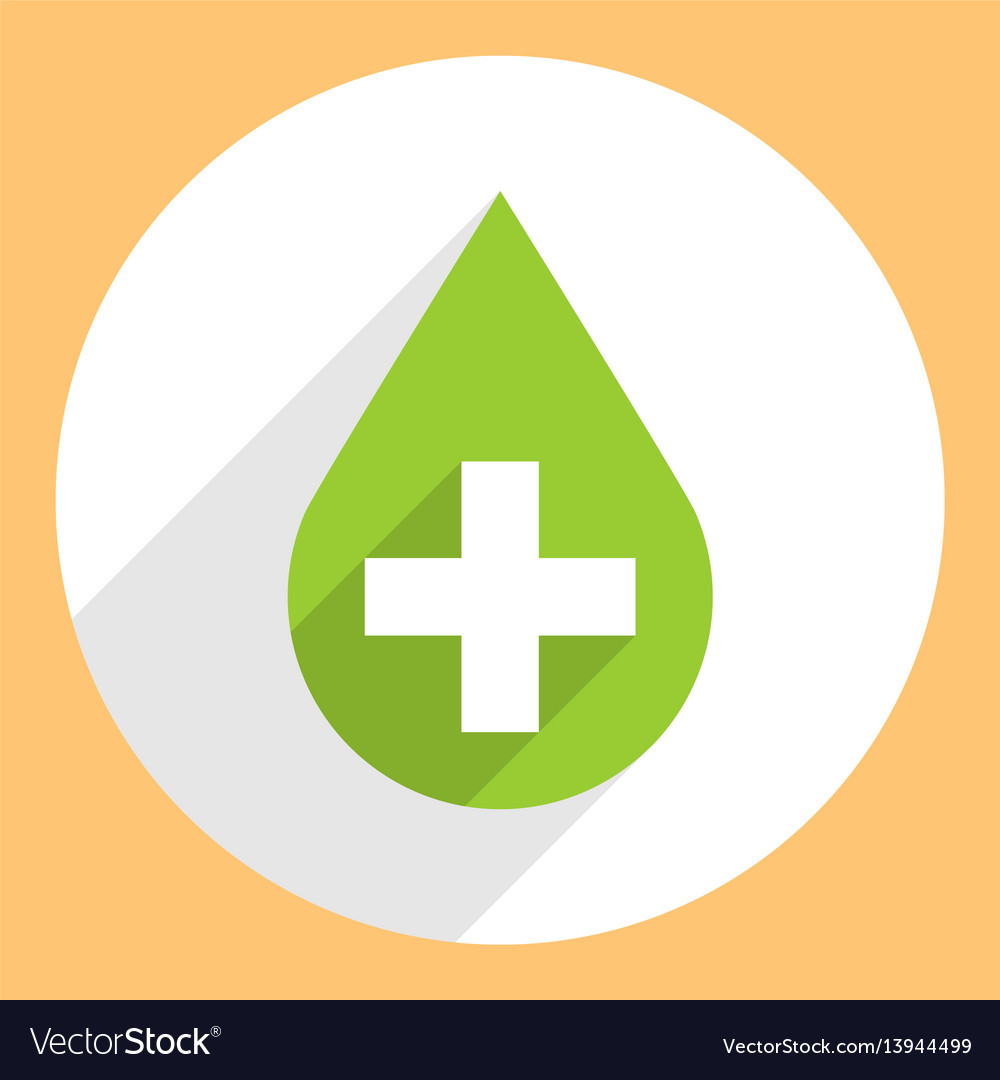 Green drop icon first aid sign circle shape