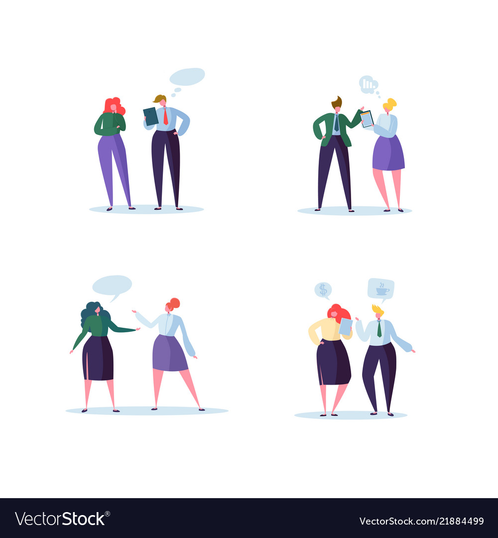 Group of business characters chatting office