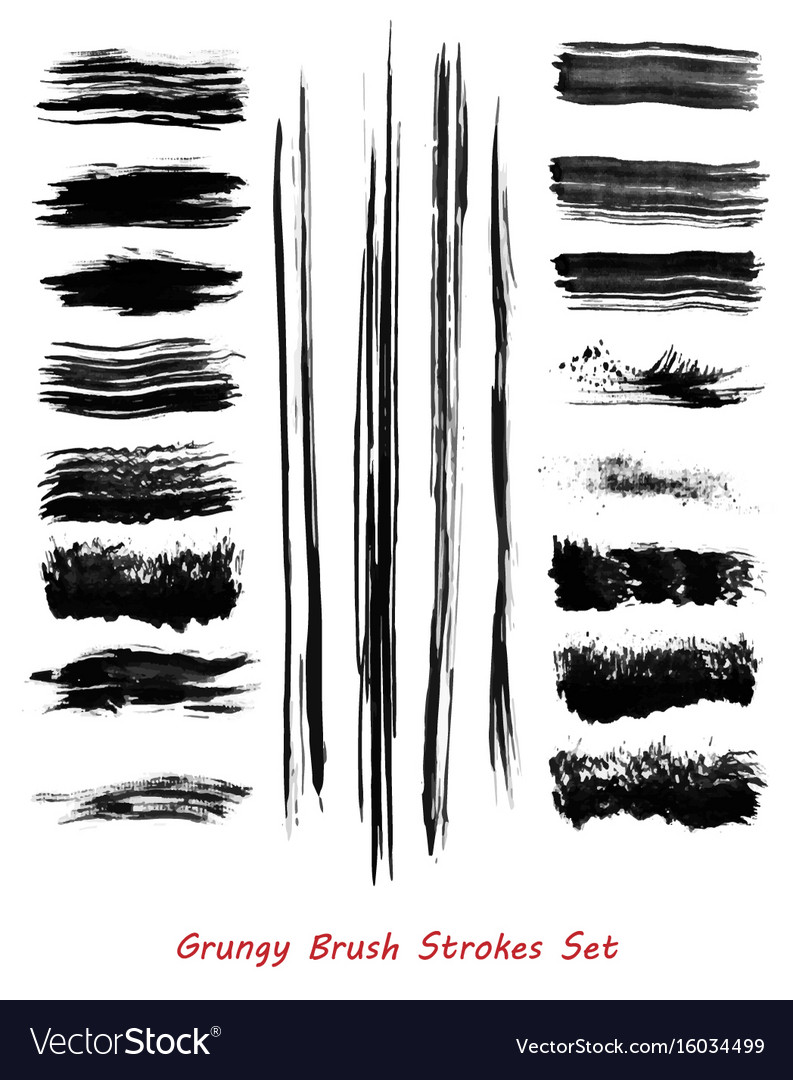 Grungy brush strokes set vector image
