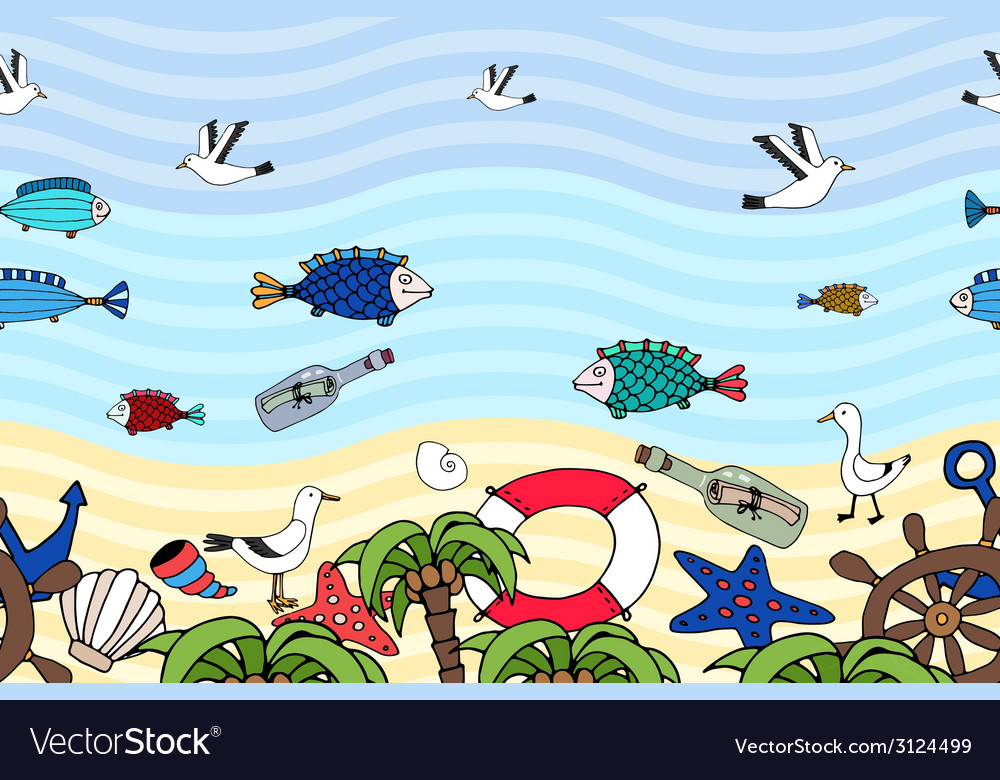 Horizontal seamless pattern of a tropical beach vector image