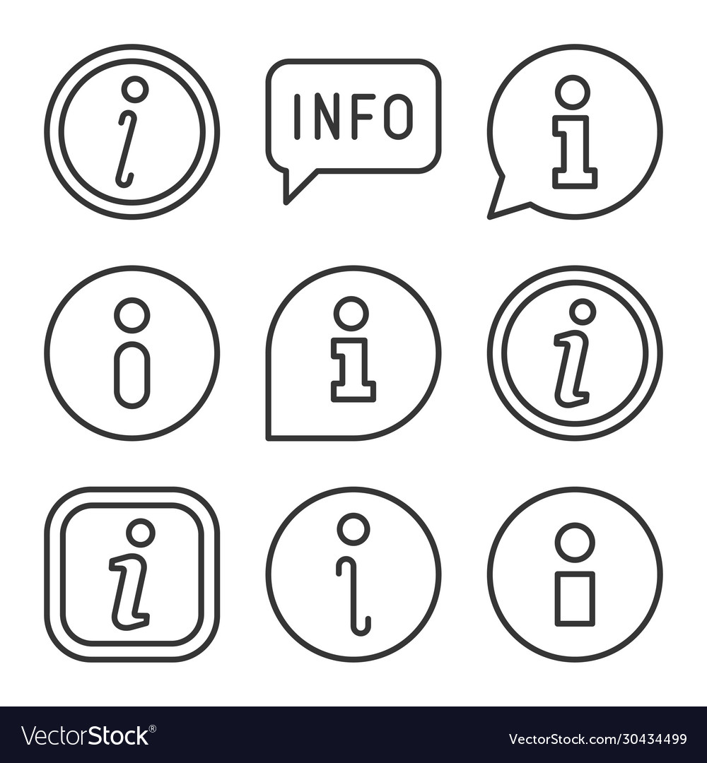 Info icons set on white background line style vector