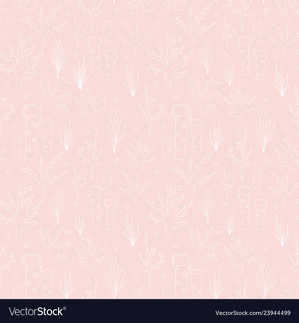 Seamless background coral reef subtle pink