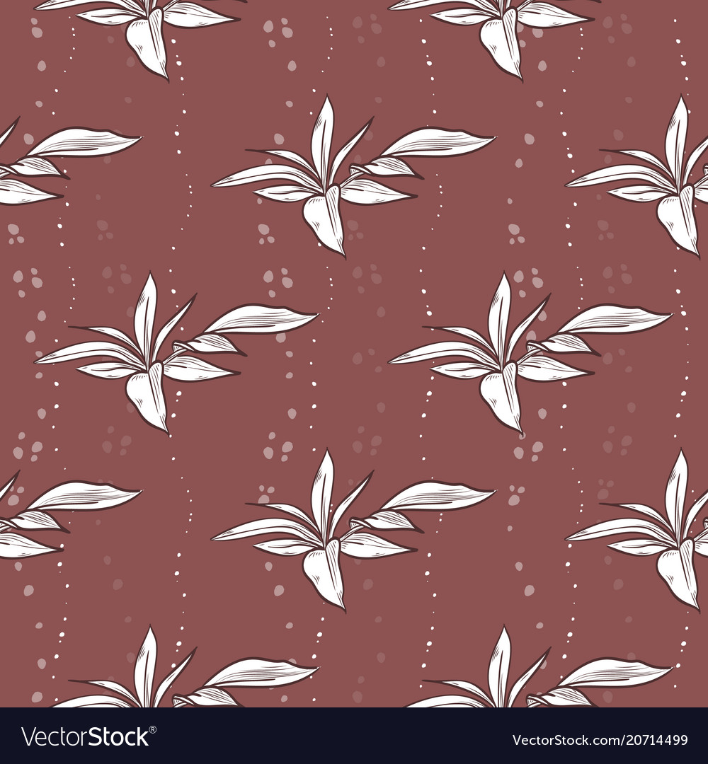 Seamless pattern of peony leaves