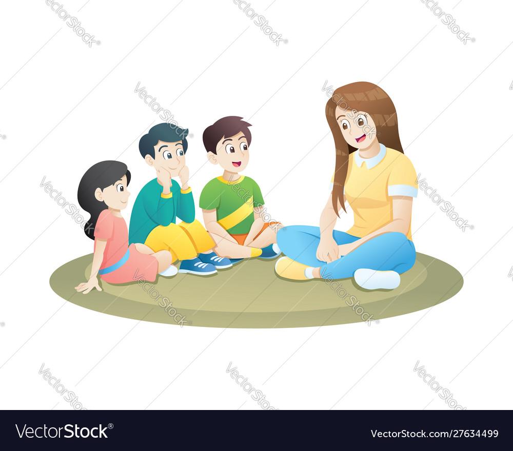 Teacher and little kids sitting on soft carpet