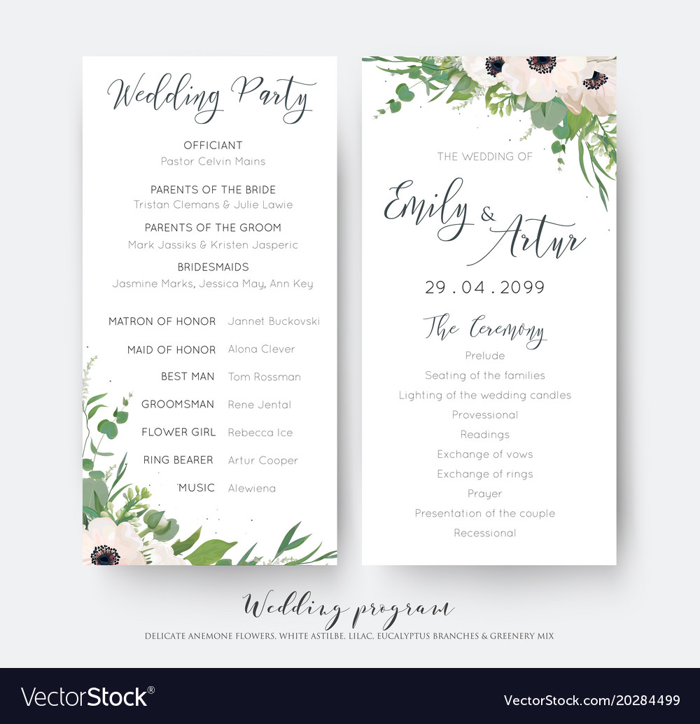 Party Program Card Elegant Vector Image