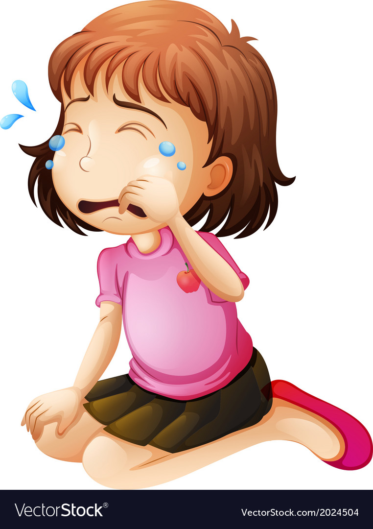 A little girl crying vector image