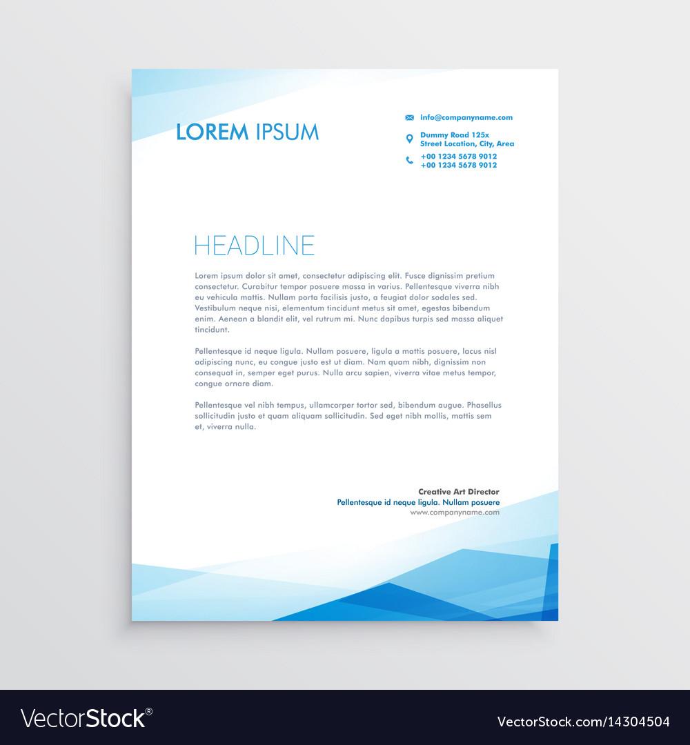 Elegant blue letterhead template design vector image