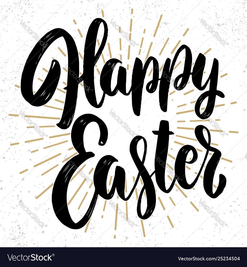 Happy easter lettering phrase on grunge