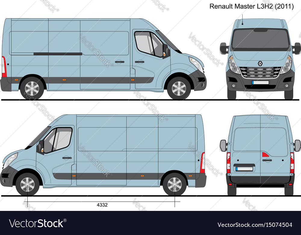 renault master l3h2 cargo bus 2011 royalty free vector image. Black Bedroom Furniture Sets. Home Design Ideas