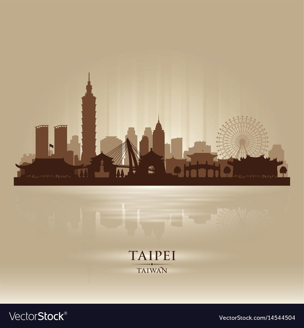 Taipei taiwan city skyline silhouette