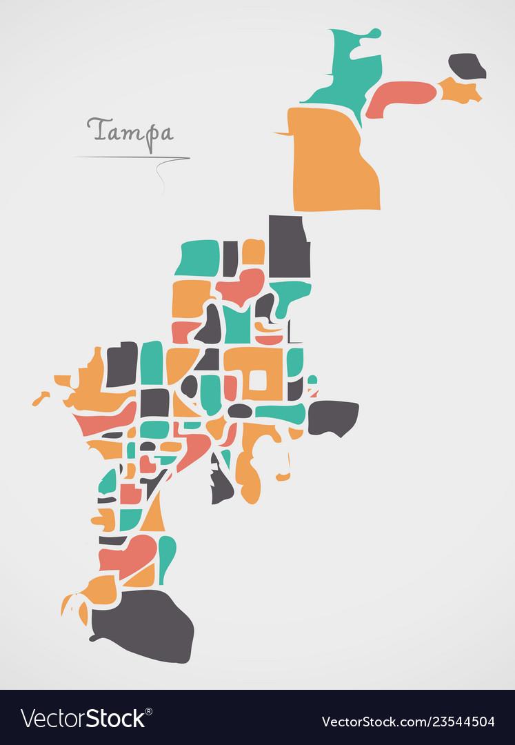 Map Tampa Florida.Tampa Florida Map With Neighborhoods And Modern Vector Image