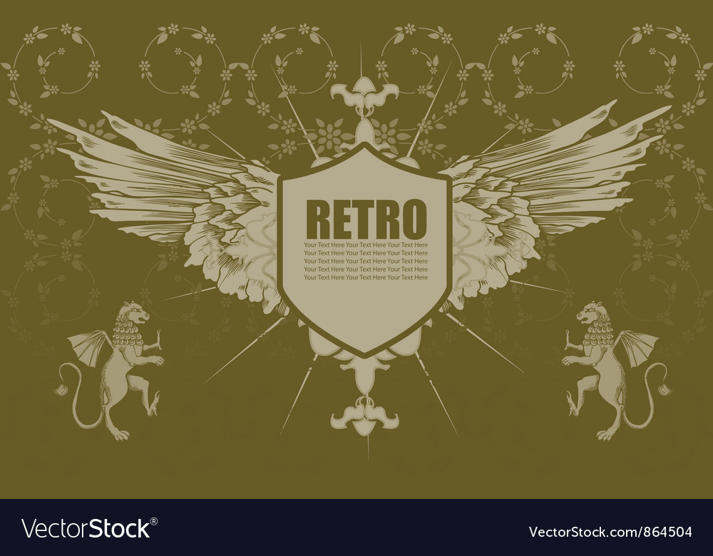 Vintage emblem with floral background
