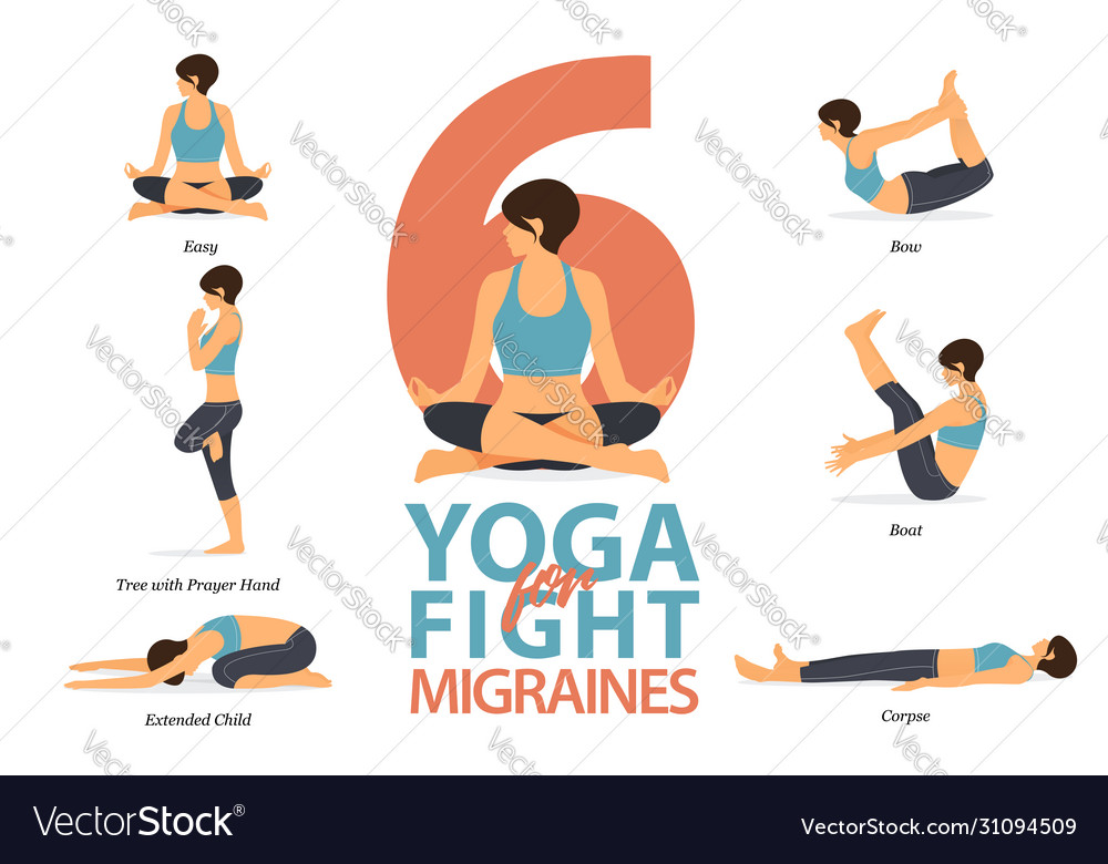6 Yoga Poses For Concept Fight For Migraines Vector Image