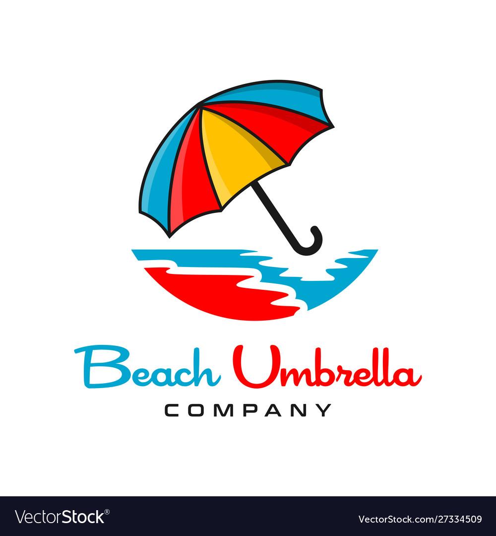 Beach umbrella logo design