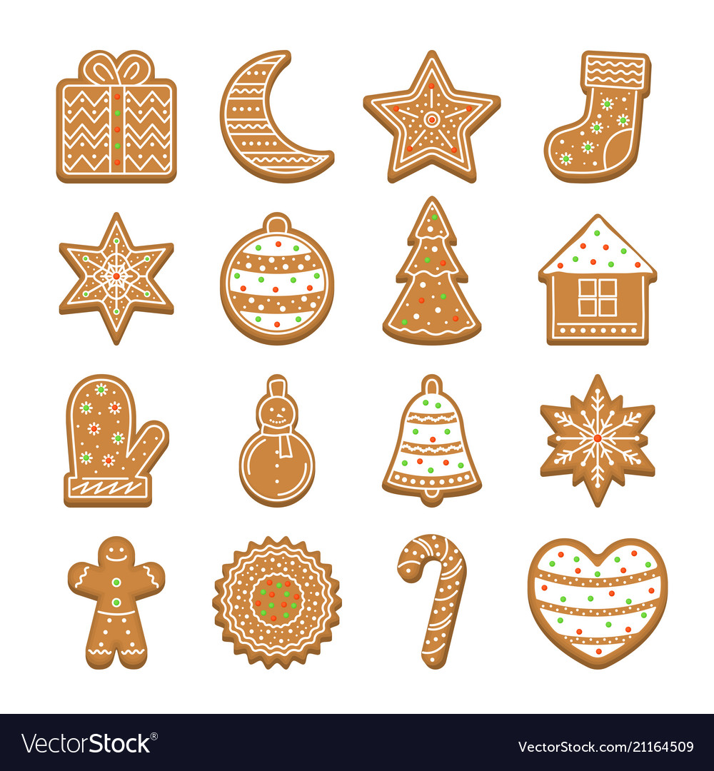 Cartoon christmas cookies icon set