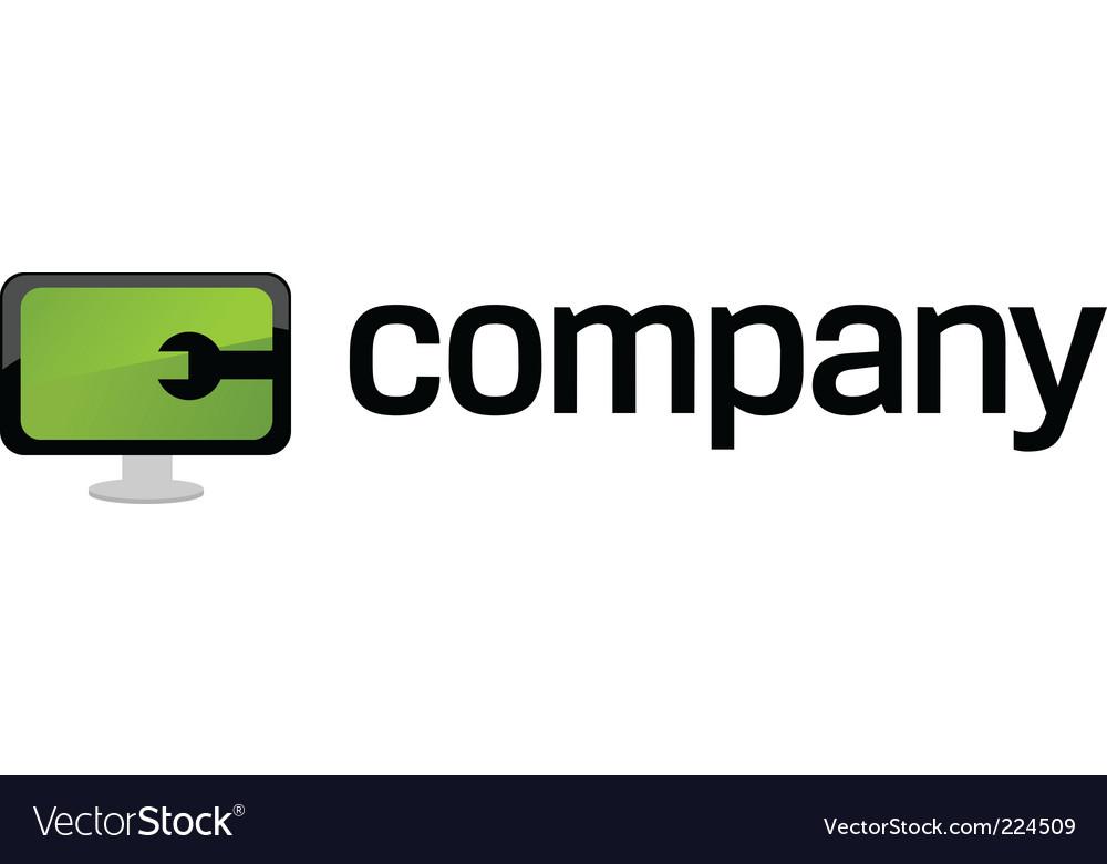 Computer repair service logo vector image
