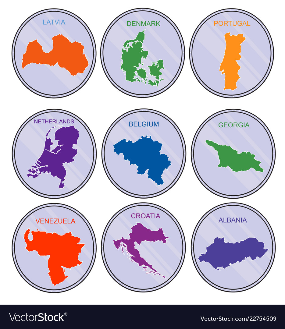 Countries of the world on coins set