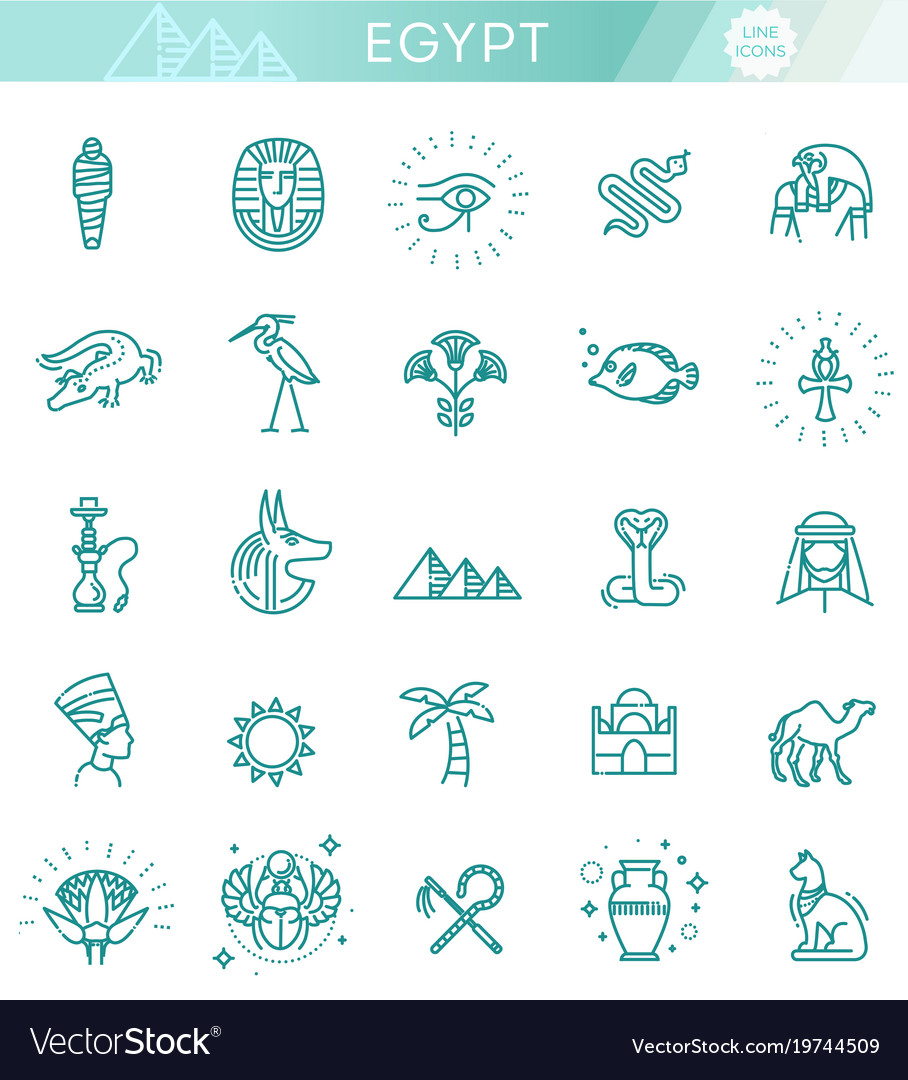 Egypt icons and design elements isolated