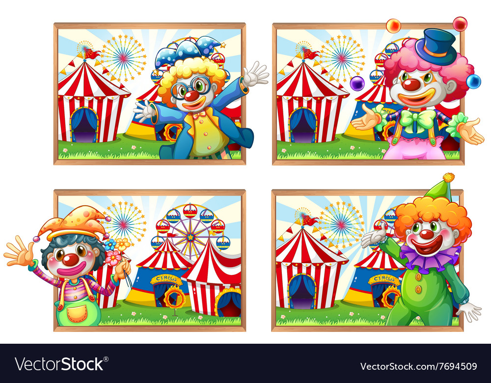 Four photo frame of clowns at the circus