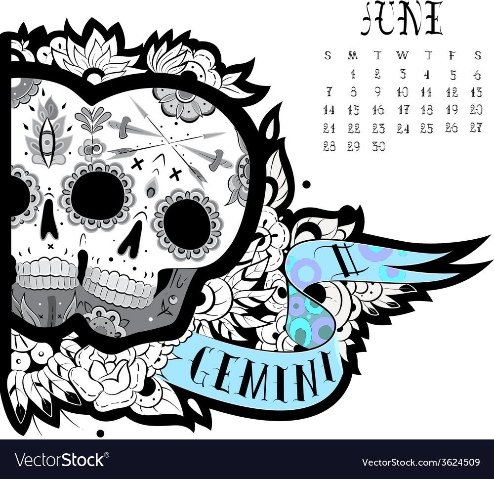 9a87ceb5a Gemini tattoo Royalty Free Vector Image - VectorStock