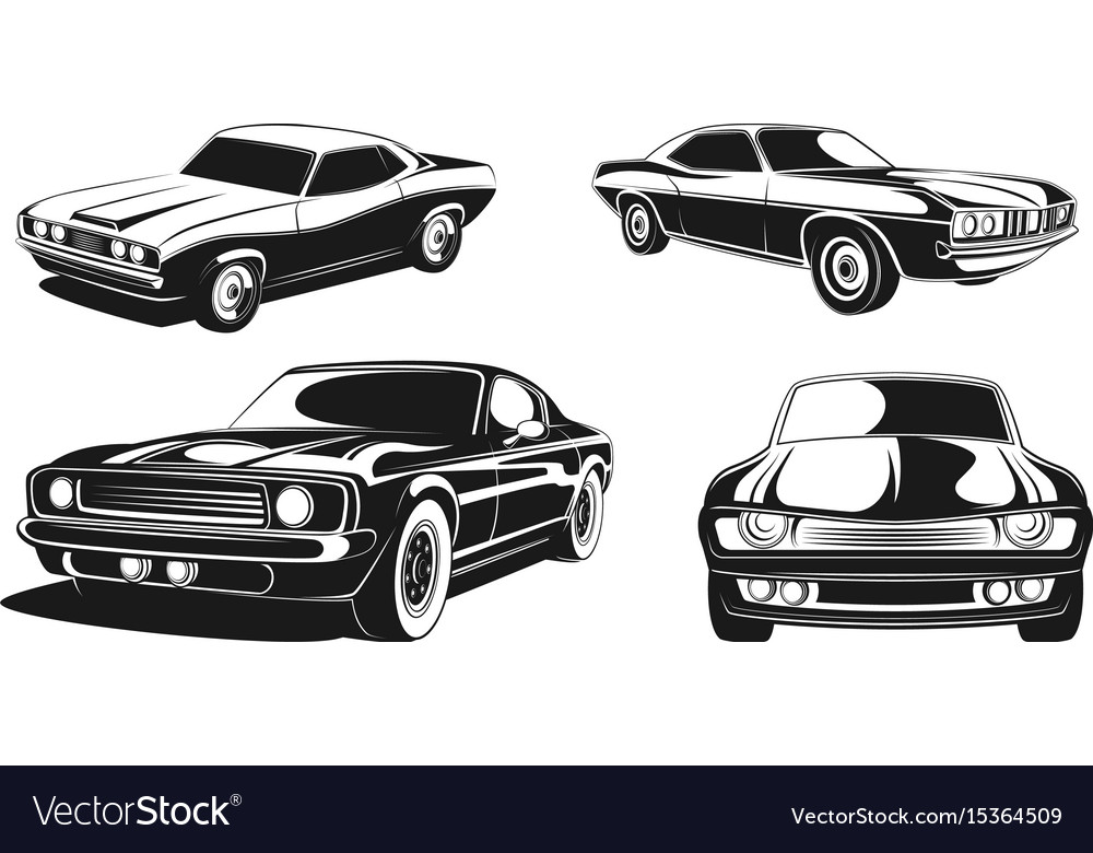 Monochrome set of retro muscle cars