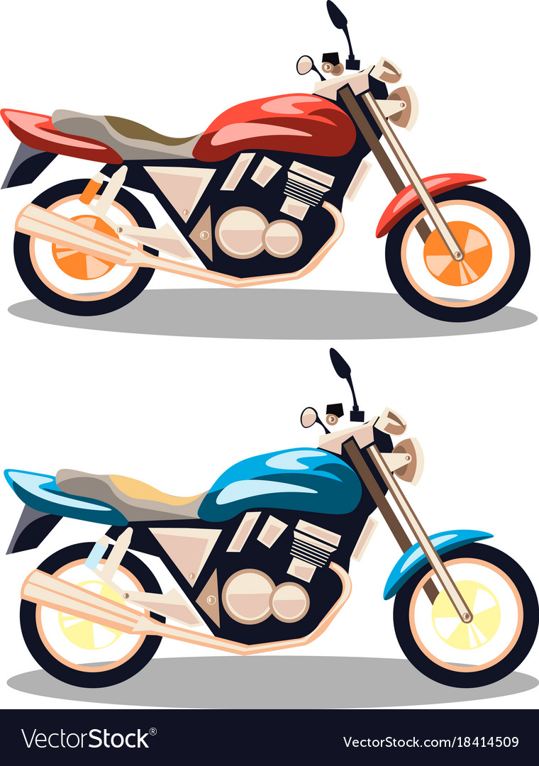 Motorcycle icons set in flat style vector image