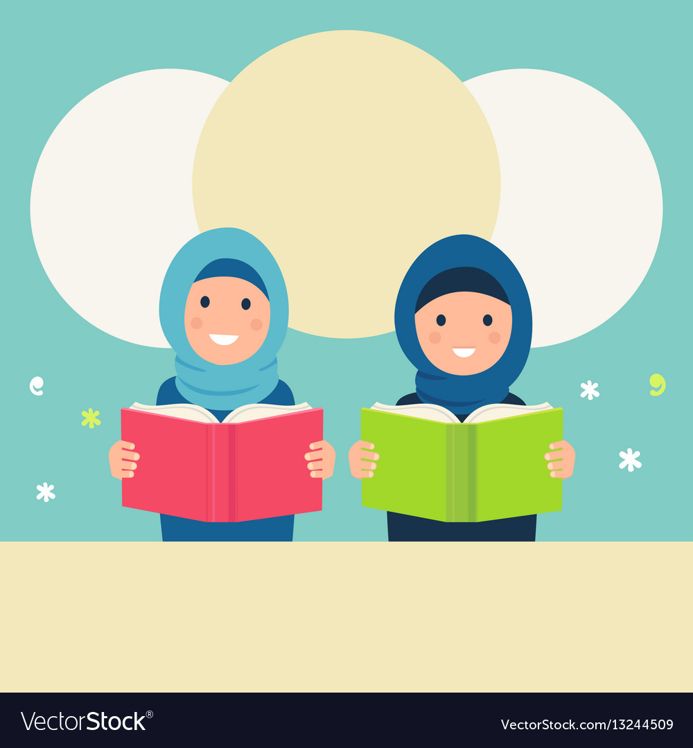 Muslim Girls Wearing Hijabs Read Books