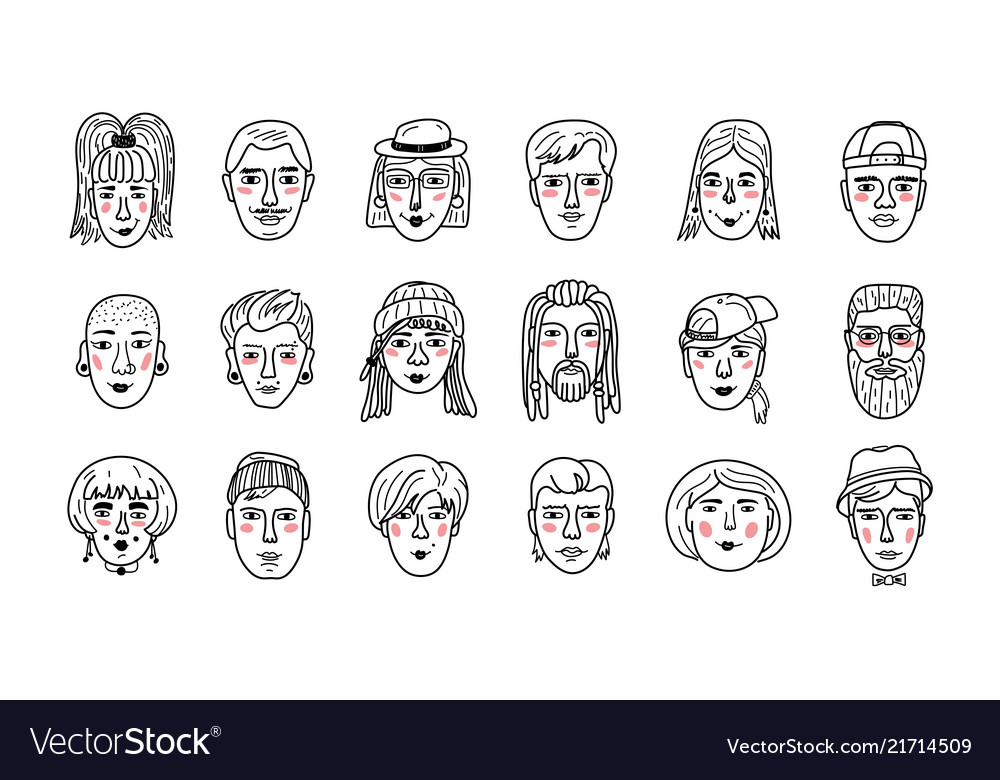 People faces funny doodle avatars hand