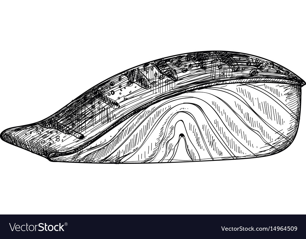 Salmon fish fillet hand drawn isolated icon