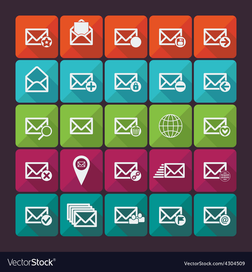 Set of twenty five flat mail icons