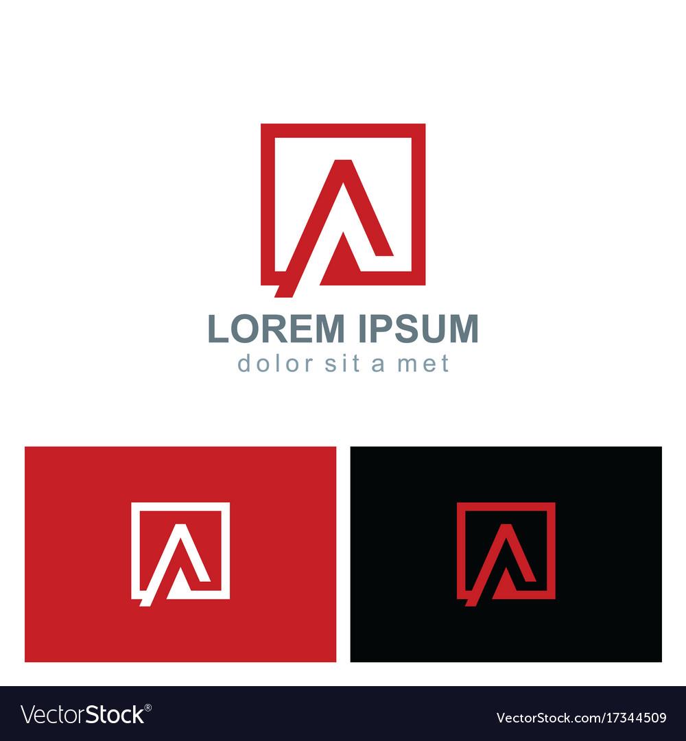 Square letter a icon logo