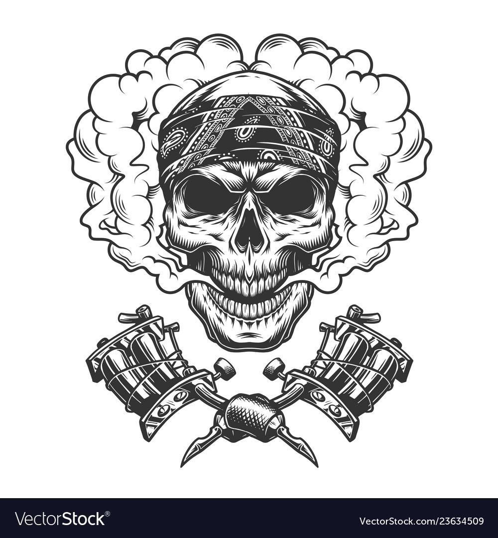Vintage tattoo master skull in cloud