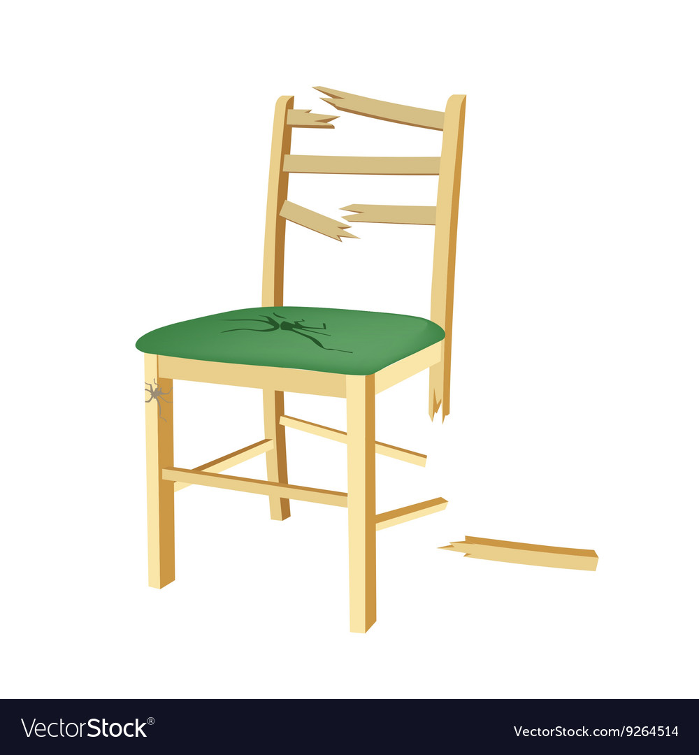 broken wooden chair with green seat royalty free vector