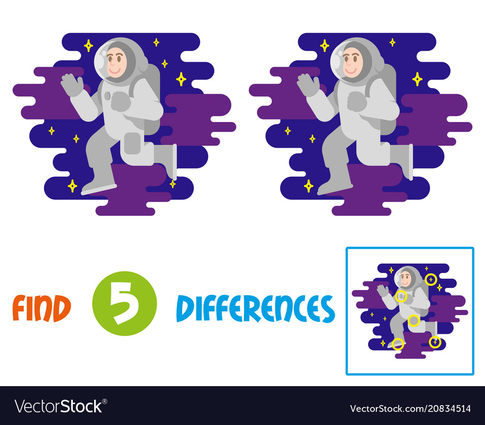 Cute astronaut find 10 differences