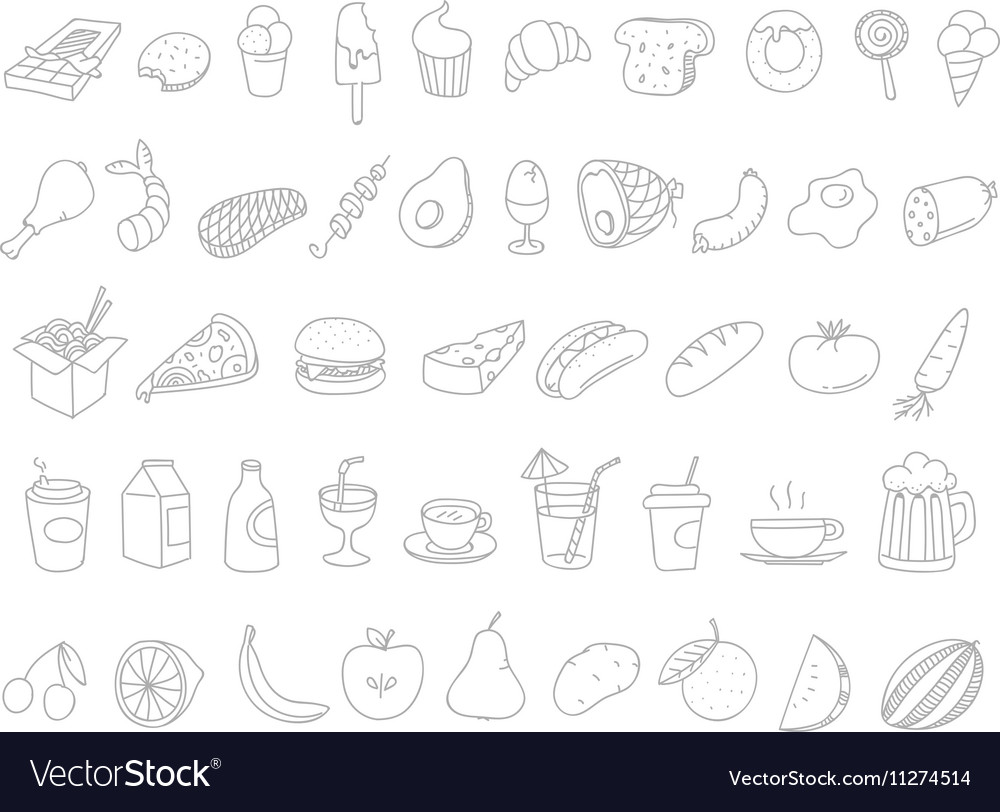 Different Food Doodles Lineart Hand Drawn Elements