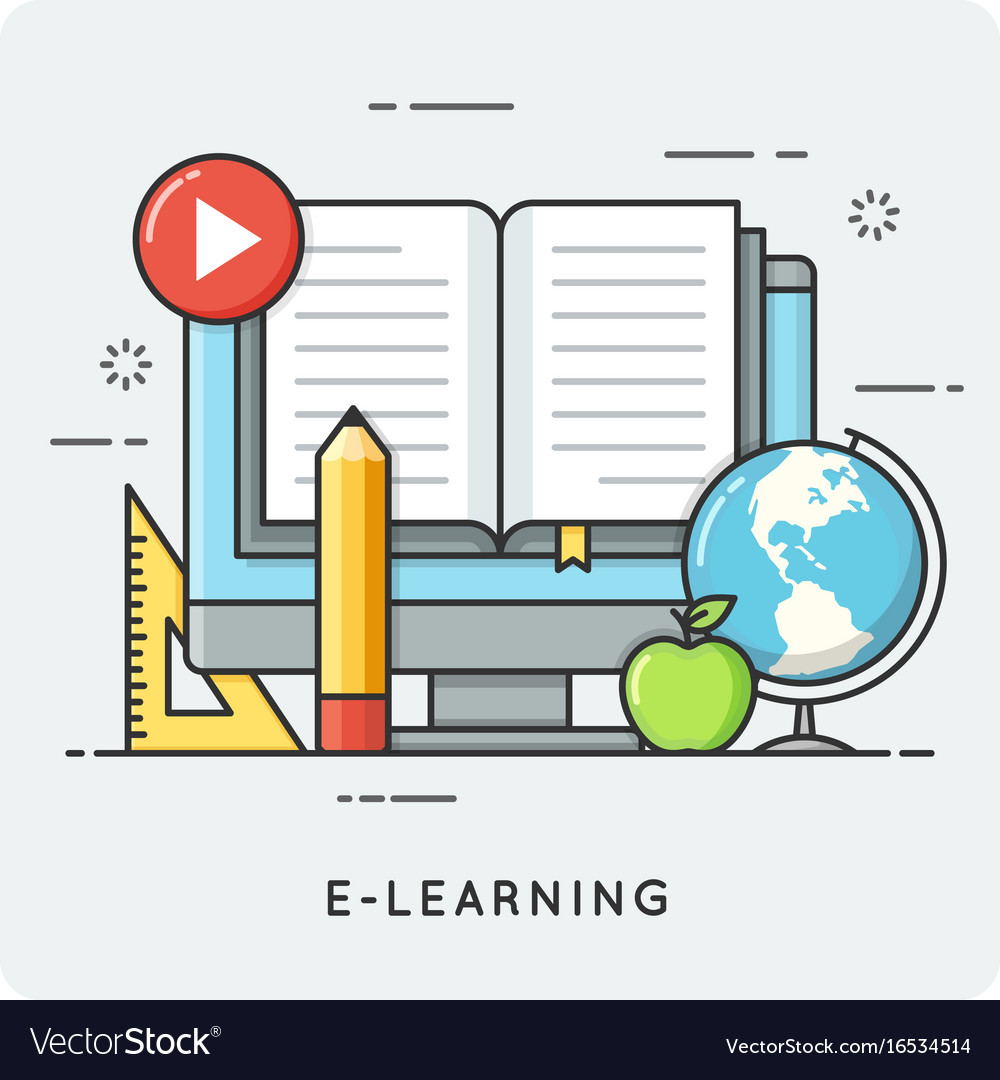 E-learning online education flat line art style vector image