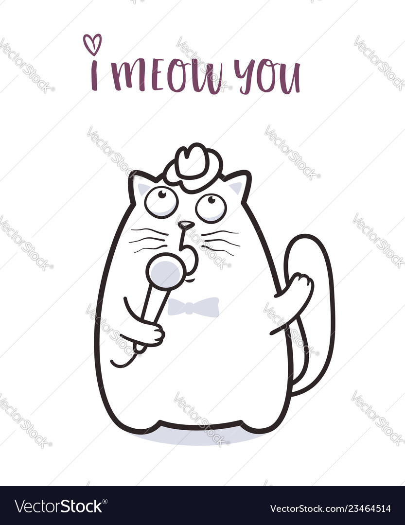 Funny cat saying meow for greeting card design