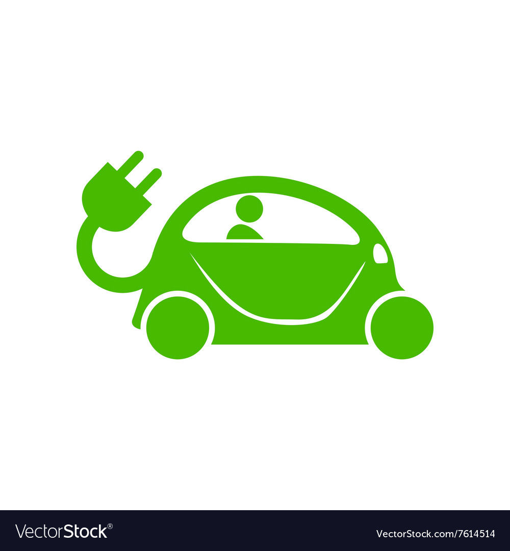 Green Electric Car Icon Simple Style Royalty Free Vector