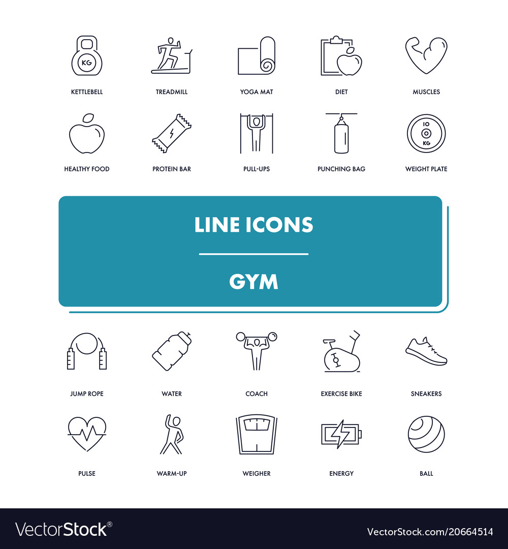 Line icons set gym vector image