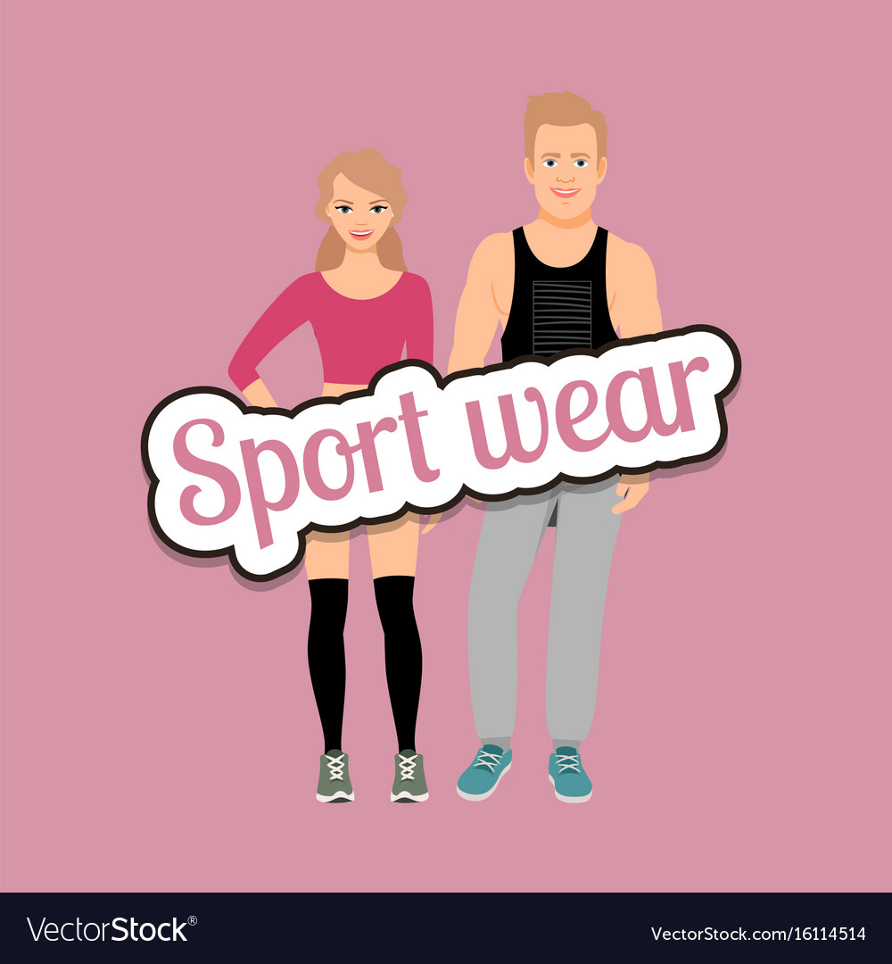 Man and woman in fitness clothes