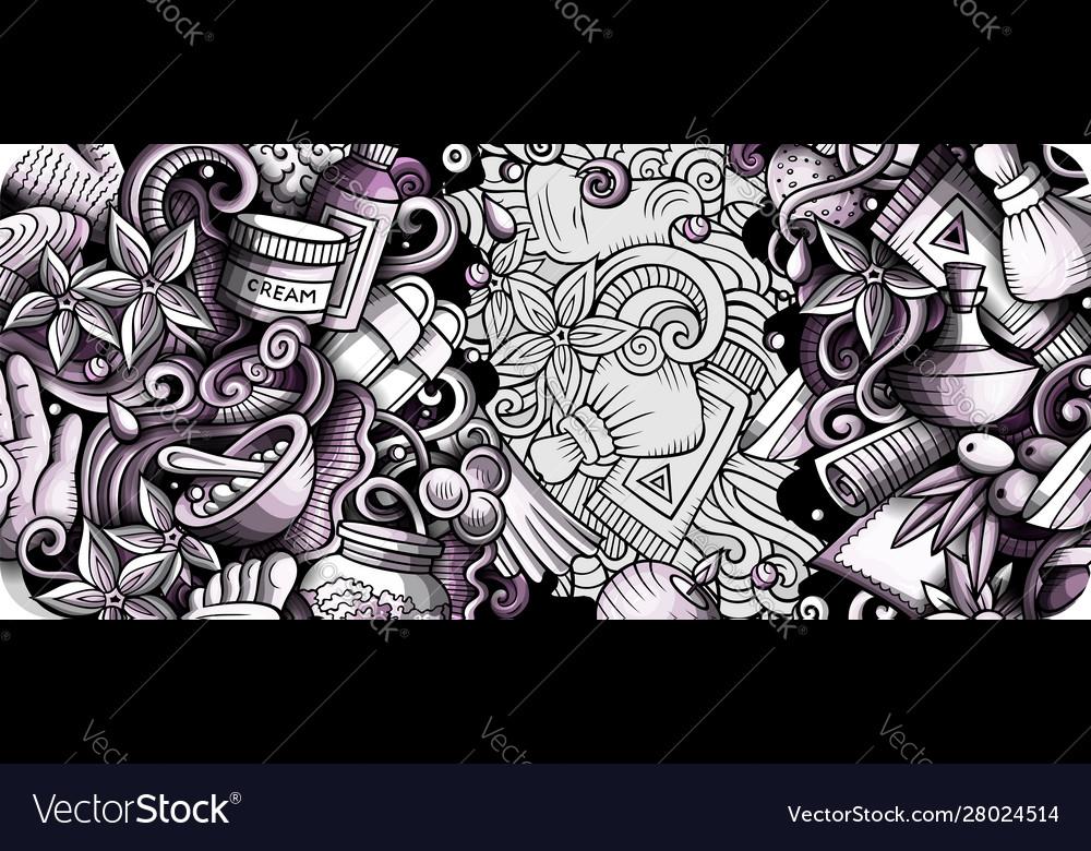 Massage hand drawn doodle banner cartoon detailed